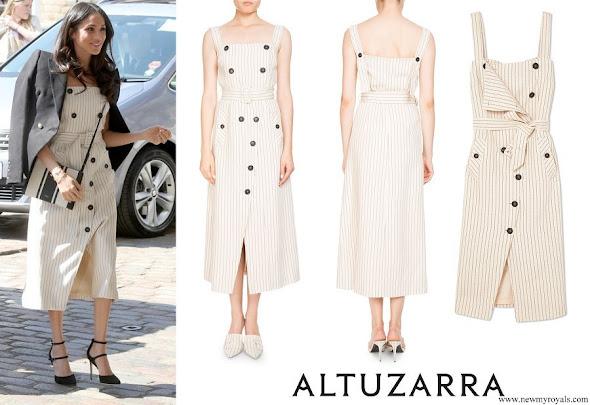 Meghan Markle wore Altuzarra Audrey button detailed ottoman midi dress
