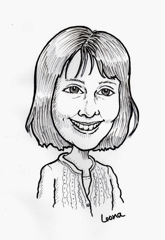 Caricature, portraits, black and white, pen and ink