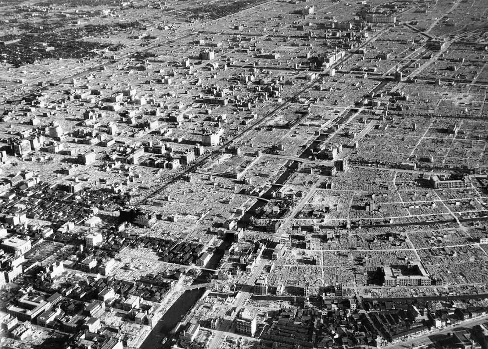 The terrible damage done to Tokyo by American bombers can be seen in what was once a residential district in the Japanese capital, viewed months later, on September 10, 1945. Only large well constructed buildings remain intact
