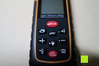 vorne: Laser-Entfernungsmesser, Jetery Digital Laser Distanzmessgerät Messung von Distanz, Flächen, Volumen|+/-2mm Messgenauigkeit|Laser Distanzmesser m/in/ft IP54 Schutz mit LCD Display, Wasserwaage, Batterien, Schutztasche (40M)