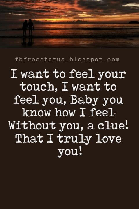 Love Text Messages, I want to feel your touch, I want to feel you, Baby you know how I feel Without you, a clue! That I truly love you!