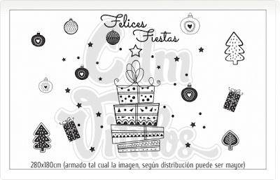 vinilos navidad,vinilos navideños,fiestas, trineo, regalos, estrellas, vidrieras fin de año