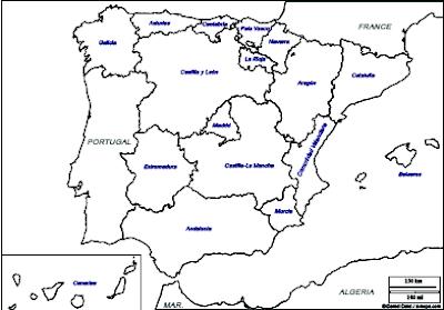 Mapa Mudo Comunidades Autonomas España Para Imprimir.Aprender Es Divertido Mapa Comunidades Autonomas De Espana
