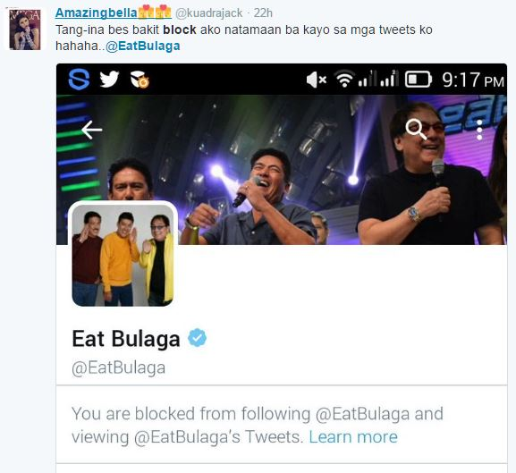 Eat Bulaga's Twitter account admin blocks fans and everyone is clueless