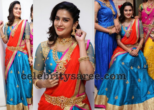 Jenny Honey Blue Half Saree