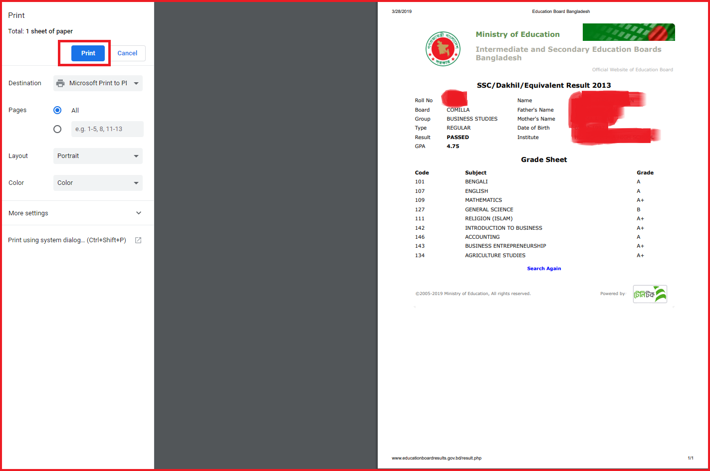 SSC Result 2020 - Bangladesh Education Board