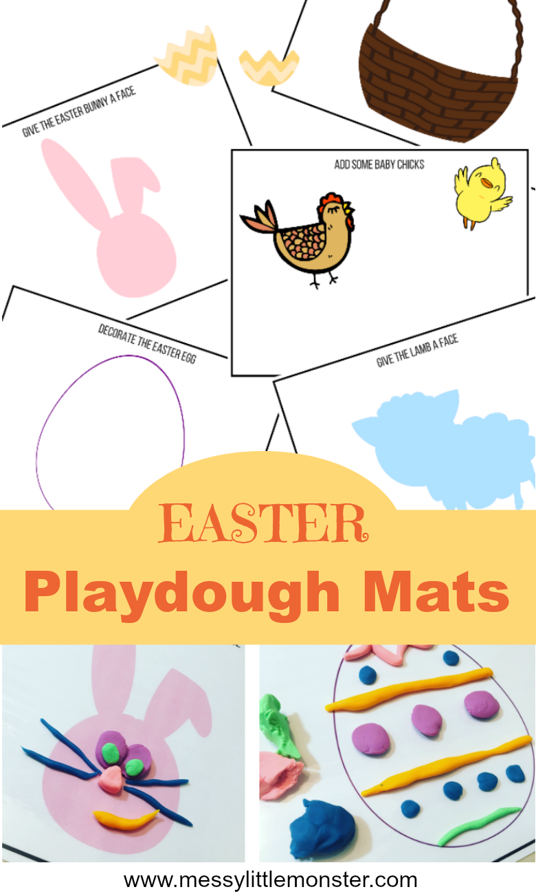 Free printable Easter playdough mats for kids.  Toddlers and preschoolers will love this Spring play dough activity. Playdough mat designs include decorate an Easter egg, give a bunny or lamb a face, fill an Easter basket and make some baby chicks.