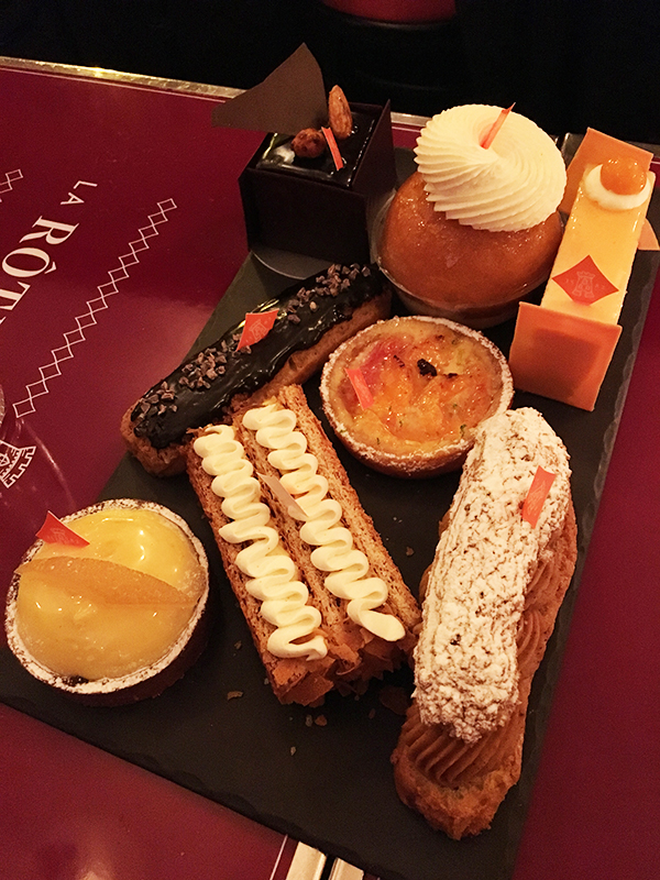 Dessert selection at La Rotisserie d'Argent