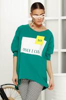Bluza dama verde casual asimetrica cu croi larg