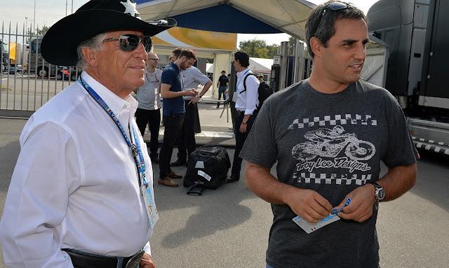 Mario Andretti y Juan Pablo Montoya en el Gran premio de de Monza