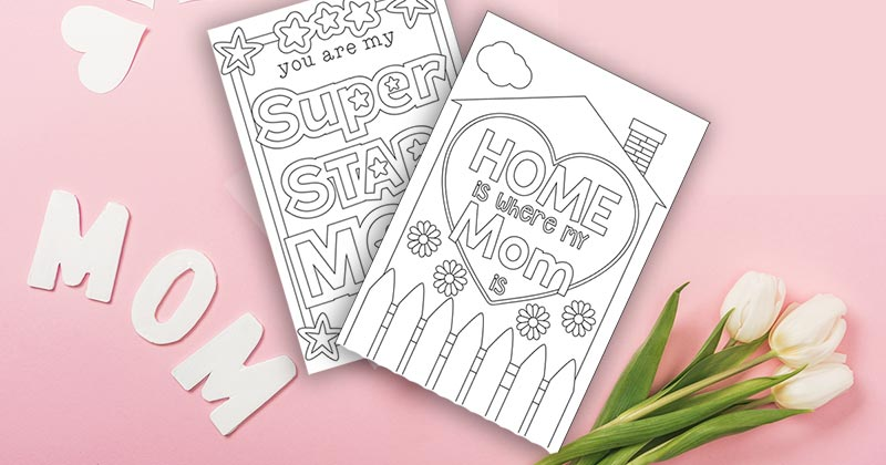 picture about Printable Mothers Day Cards for Kids named Lovely Free of charge Printable Moms Working day Playing cards for Little ones in direction of Shade