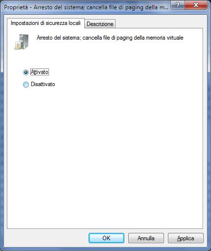 GPEDIT, Attiva criterio per la cancellazione automatica del file di paging