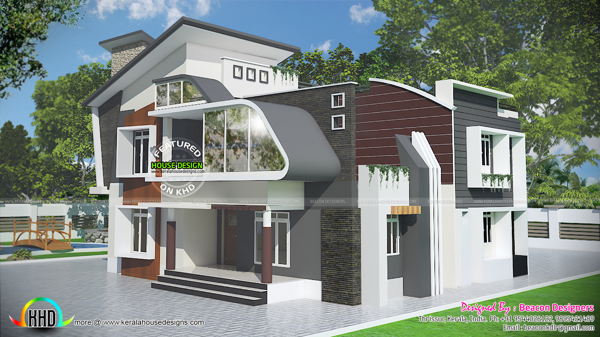Unique contemporary 4 bedroom house kerala home design for Unique modern house plans
