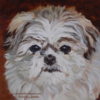 """""""Sophie"""" Mini Imperial Shitzu 8x8 inches, oil on canvas ©2018 Tina M.Welter"""