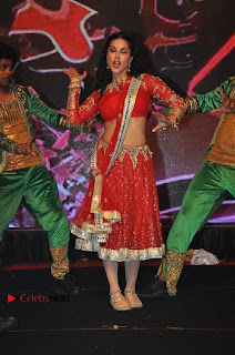 Bollywood Actress Model Sunny Leone Dance Performance in Red Half Saree at Rogue Audio Launch 13 March 2017  0147.jpg