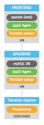 topology of the application deployment, showing the sensors applied