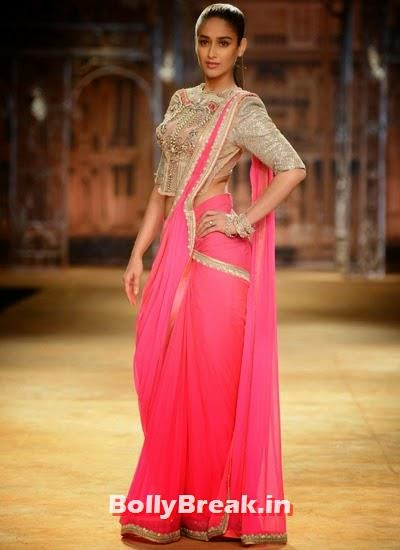 , Ileana D'Cruz Hot Images in Pink Saree, Backless Blouse at ICW 2014