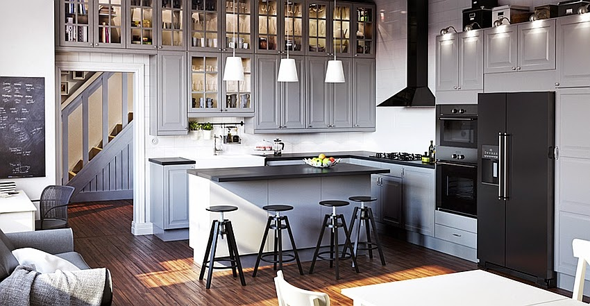 elegant modern grey kitchen from the ikea catalog 2015