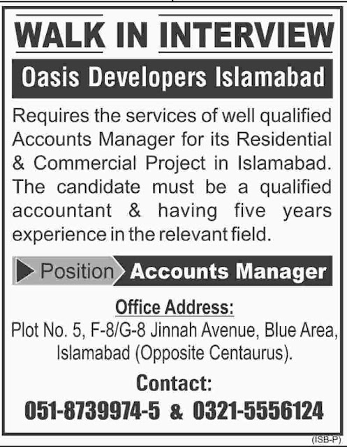 Accounts Manager Jobs in Islamabad Oasis Developer Jobs in Pakistan
