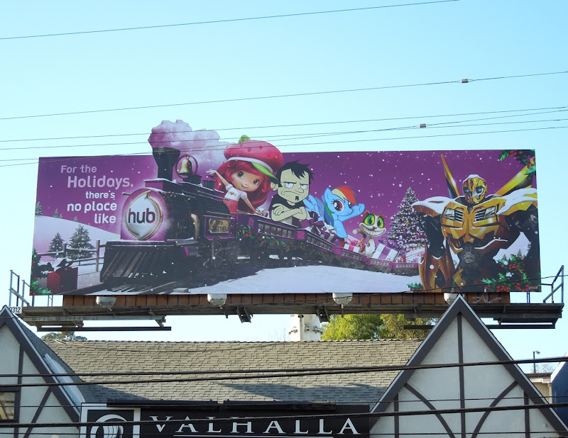 Hub holidays cartoon billboard