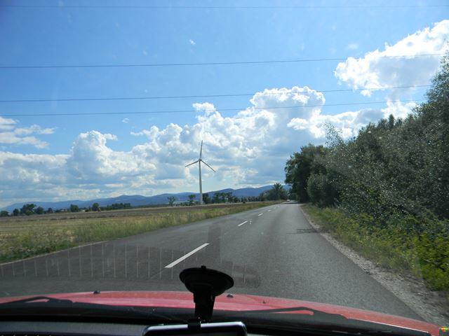 samochód, wiatrak, droga, do Czech