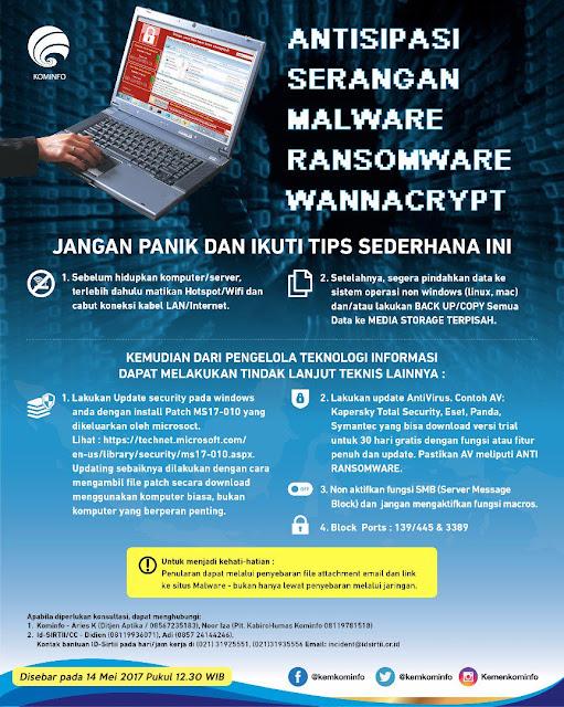 Catatan Ikrom Panduan Antisipasi Serangan Ransomware WannaCry oleh Kemkominfo