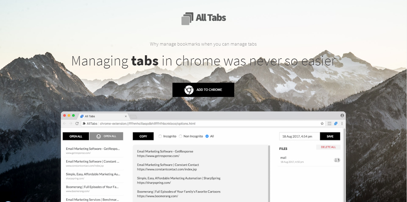 All Tabs 像純文字般簡潔整理分享大量網頁,更適合資料收集者