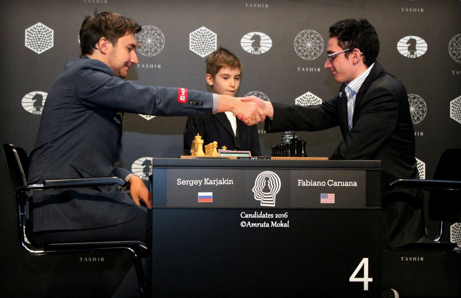 Le duel décisif entre Sergey Karjakin et Fabiano Caruana dans ce tournoi d'échecs des candidats - Photo © Amruta Mokal