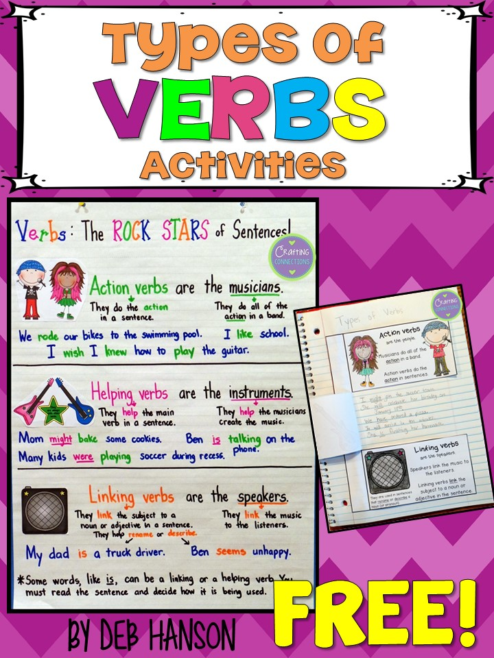 Crafting Connections: Types of Verbs Anchor Chart (with a freebie!)