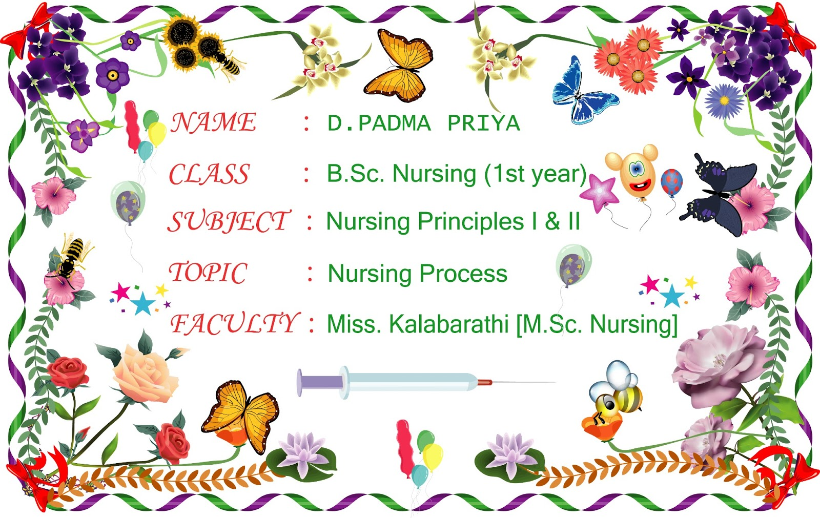 natrajan s creative workz a front page design for project report designed for nursing student this design was made using illustrator symbols