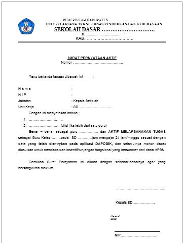 Download Contoh Surat Pernyataan Aktif Mengajar 24 Jam Guru Web Ptk