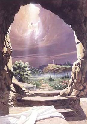 Dibujo de Jesús abandonando su sepultura a color