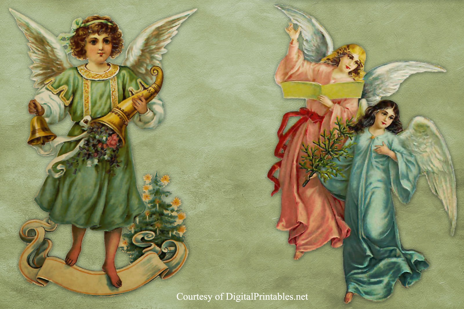 Digital Printables Free Printable Victorian Christmas Angel Scraps