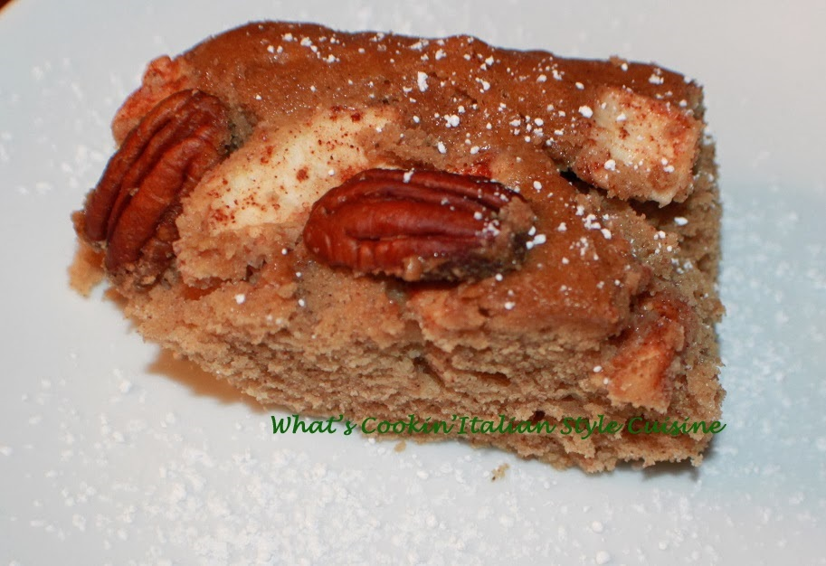 this is a semi homemade apple cake with cinnamon and pecans easy cake mix hack!