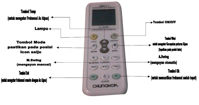 cara setting remote universal semua merk ac
