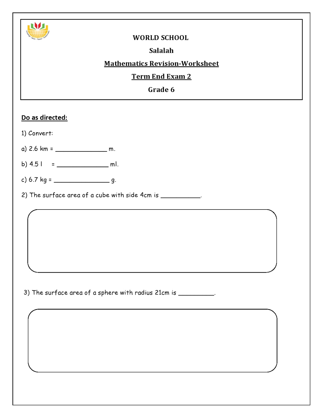 WORLD SCHOOL OMAN: Revision Worksheets for Grade 6 as on 09-05-2019 [ 1600 x 1236 Pixel ]