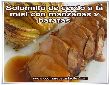 Solomillo de cerdo a la miel con manzanas y batatas✅Plato que no puedes dejar de preparar. En él se combinan muy bien el sabor del cerdo, la miel y batatas.