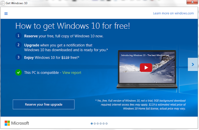 Windows 10 upgrade free screenshot