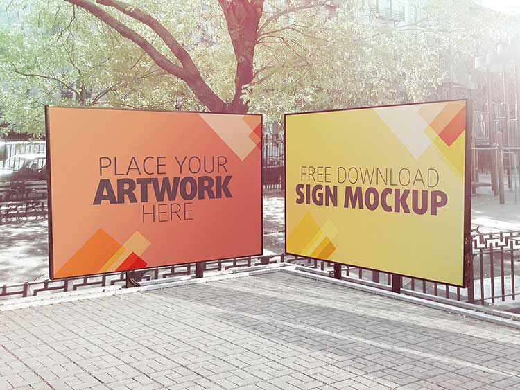 Outdoor Sign Mockup PSD