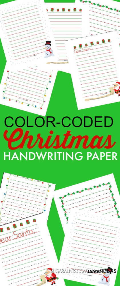 Color Coed Christmas paper for modified writing to improve handwriting legibility.