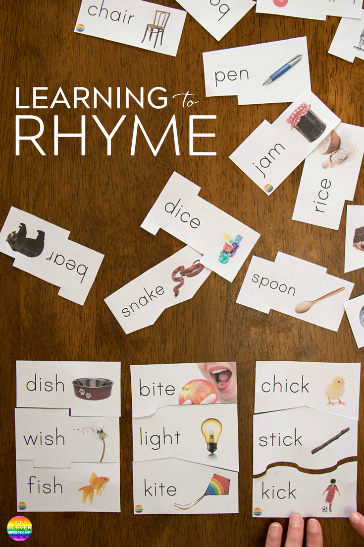 Learning To Rhyme - one step to developing phonological awareness. Teaching ideas and resources to help young children hear and produce rhyme from preschool and beyond | you clever monkey