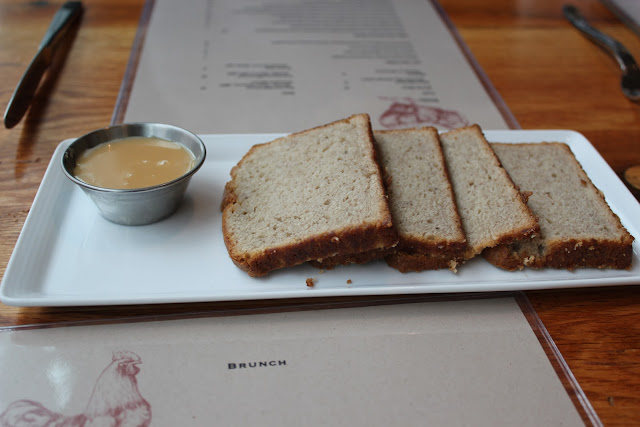 Banana bread with dulce de leche at Catalyst, Cambridge, Mass.