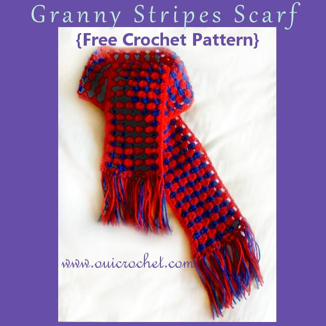 Crochet, Crochet Scarf, Free Crochet Pattern, granny stripes, Granny Stripes Scarf, Granny Stripes Scarf Pattern,