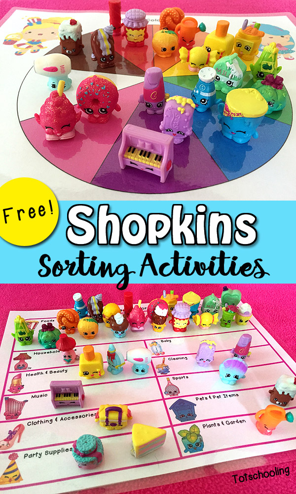 Free Shopkins Sorting Printables | Totschooling - Toddler ...