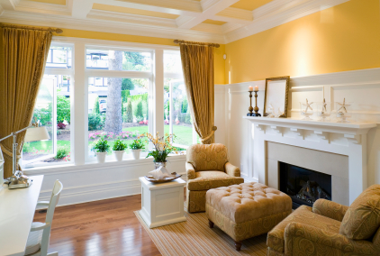 Great Example Of 2 Focal Points The Fireplace And Bay Window Nicely Done