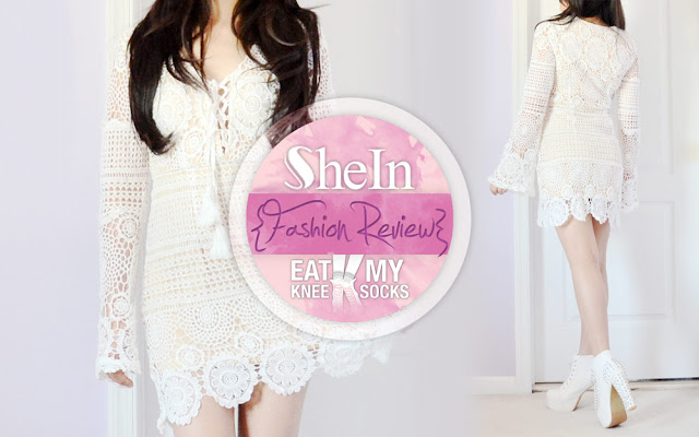 For part 2 of my review of my latest SheIn fashion mini-haul, I'll be reviewing a bell sleeve crochet dress. This boho-chic spring-summer style is an essential for any tropical getaway, with many subtle details that blend together for an elegant vacation look.  - Eat My Knee Socks / Mimchikimchi