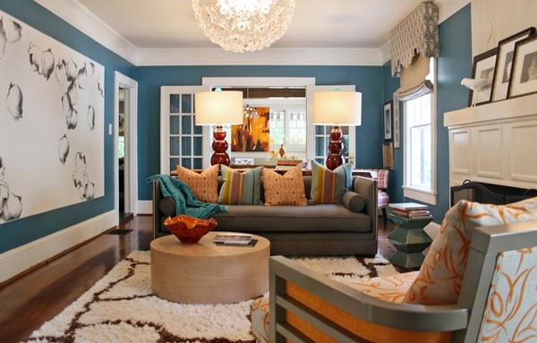 Desain Ruang Tamu Indah dengan Aksen Warna Biru