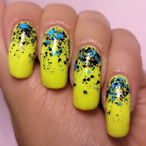 Gelic Nail Art Neon Nail Art With Blue And Black Glitter Gradient