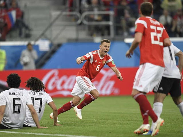 Russia beat Egypt 3-1 in a Group A match