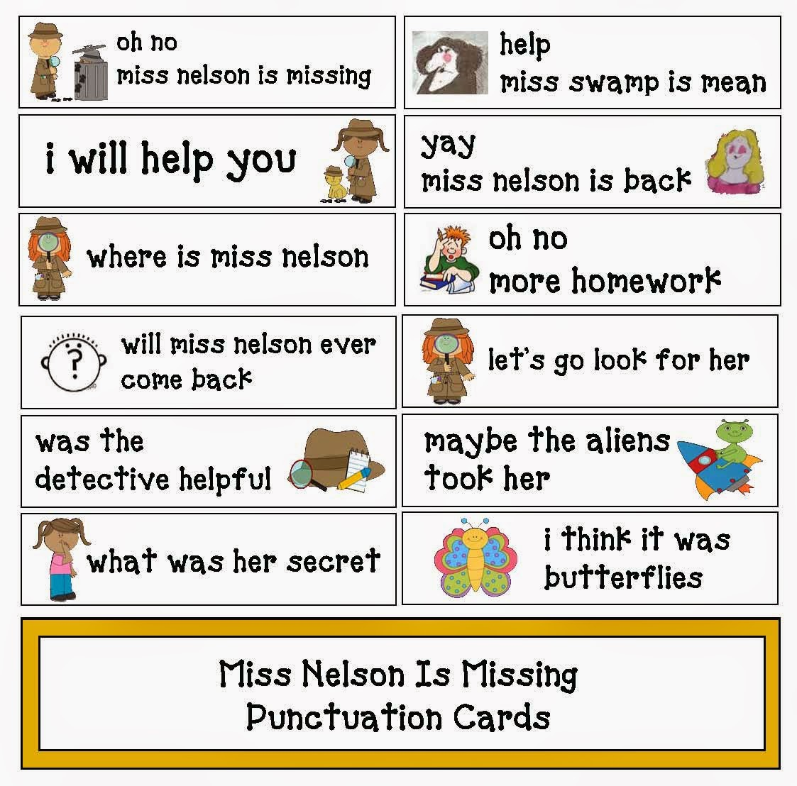 Classroom Freebies Miss Nelson Is Missing Punctuation Cards